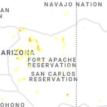 Regional Hail Map for Show Low, AZ - Monday, August 16, 2021