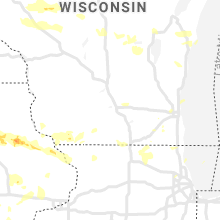 Regional Hail Map for Madison, WI - Tuesday, August 24, 2021