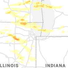 Regional Hail Map for Chicago, IL - Tuesday, September 7, 2021