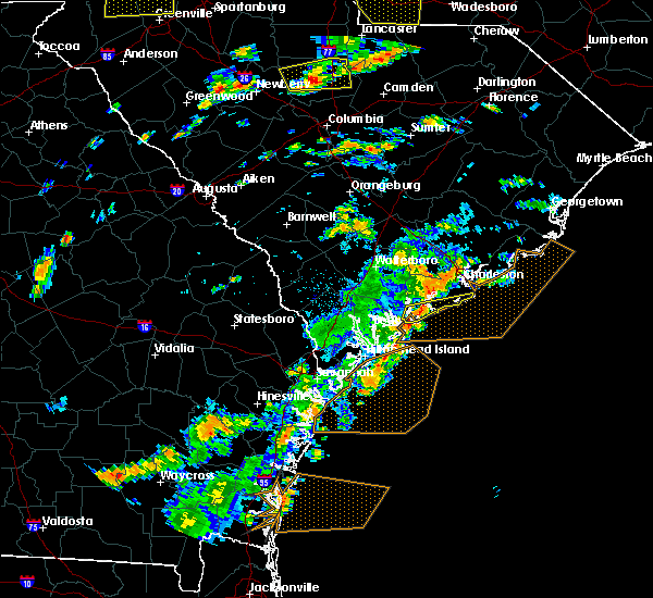 Radar Image for Severe Thunderstorms near Edisto Beach, SC at 8/6/2015 2:48 PM EDT
