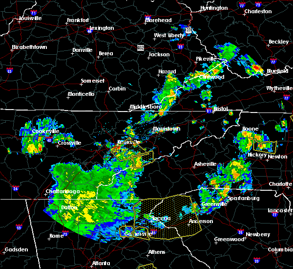Radar Image for Severe Thunderstorms near Gatlinburg, TN at 8/10/2015 5:34 PM EDT