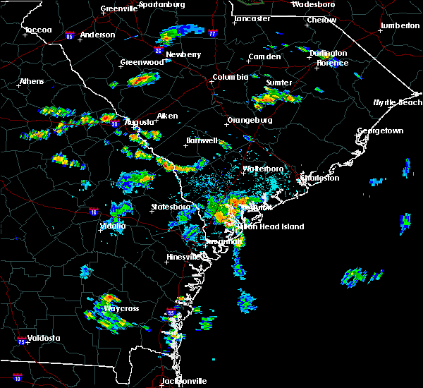 Radar Image for Severe Thunderstorms near Edisto Beach, SC at 8/11/2015 5:29 PM EDT