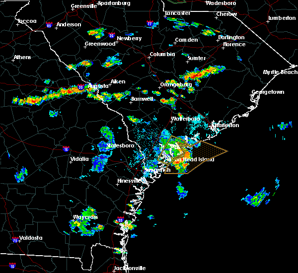 Radar Image for Severe Thunderstorms near Edisto Beach, SC at 8/11/2015 6:14 PM EDT
