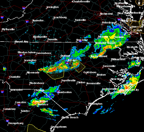 Radar Image for Severe Thunderstorms near Kenly, NC at 8/11/2015 7:44 PM EDT