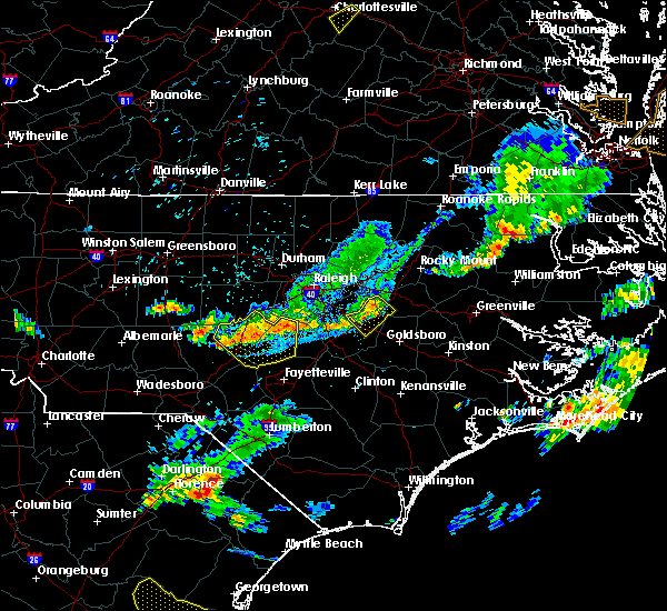 Radar Image for Severe Thunderstorms near Smithfield, NC at 8/11/2015 8:09 PM EDT
