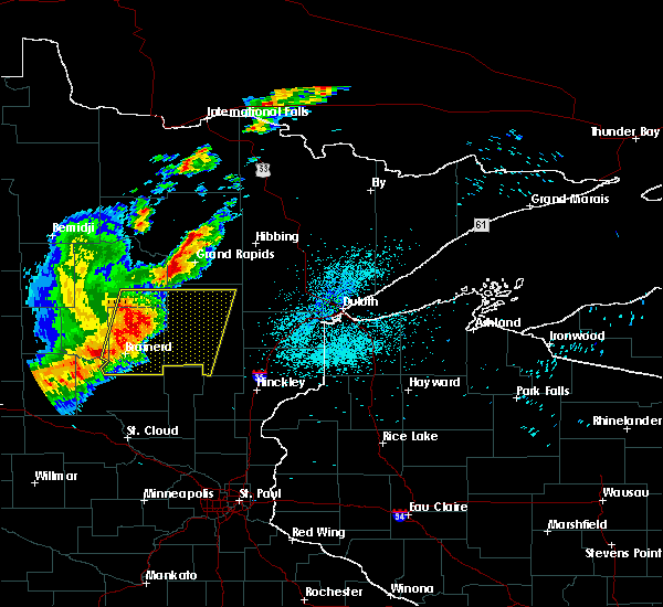 Radar Image for Severe Thunderstorms near Merrifield, MN at 8/16/2015 1:34 AM CDT