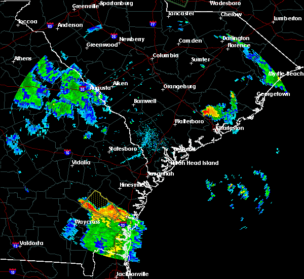 Radar Image for Severe Thunderstorms near Lincolnville, SC at 8/19/2015 6:57 PM EDT