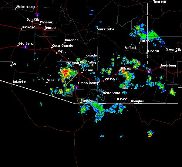 Radar Image for Severe Thunderstorms near Tucson, AZ at 8/20/2015 4:17 PM MST