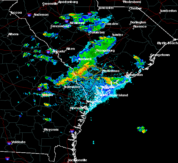 Radar Image for Severe Thunderstorms near Allendale, SC at 8/22/2015 4:20 PM EDT