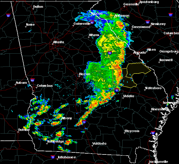 Radar Image for Severe Thunderstorms near Twin City, GA at 8/23/2015 1:06 PM EDT