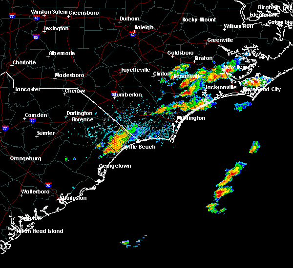 Radar Image for Severe Thunderstorms near Myrtle Beach, SC at 8/26/2015 4:33 PM EDT