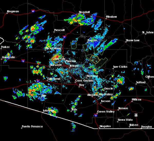 Radar Image for Severe Thunderstorms near Rock House, AZ at 8/27/2015 3:28 PM MST