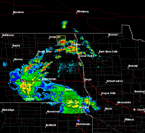 Radar Image for Severe Thunderstorms near Crystal, ND at 9/4/2015 11:54 AM CDT