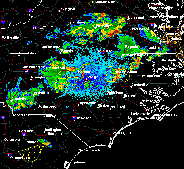Radar Image for Severe Thunderstorms near Sanford, NC at 9/10/2015 8:07 PM EDT