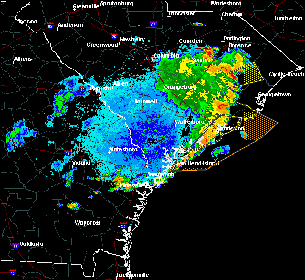 Radar Image for Severe Thunderstorms near Edisto Beach, SC at 9/10/2015 8:41 PM EDT