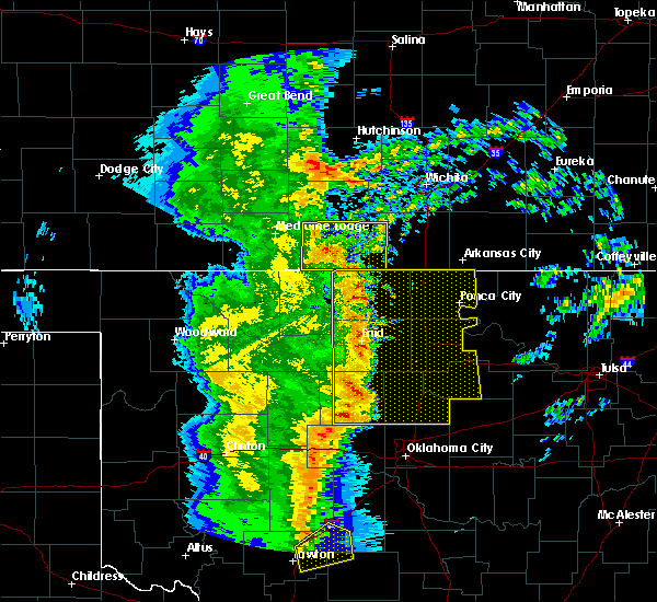 Radar Image for Severe Thunderstorms near Kremlin, OK at 11/17/2015 1:03 AM CST
