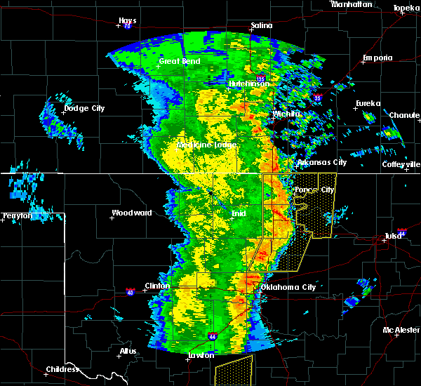 Radar Image for Severe Thunderstorms near Carney, OK at 11/17/2015 1:58 AM CST