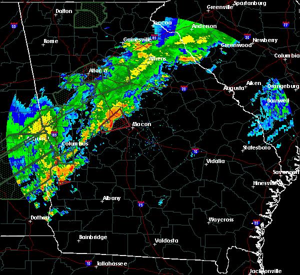 Radar Image for Severe Thunderstorms near Macon, GA at 12/24/2015 1:48 PM EST