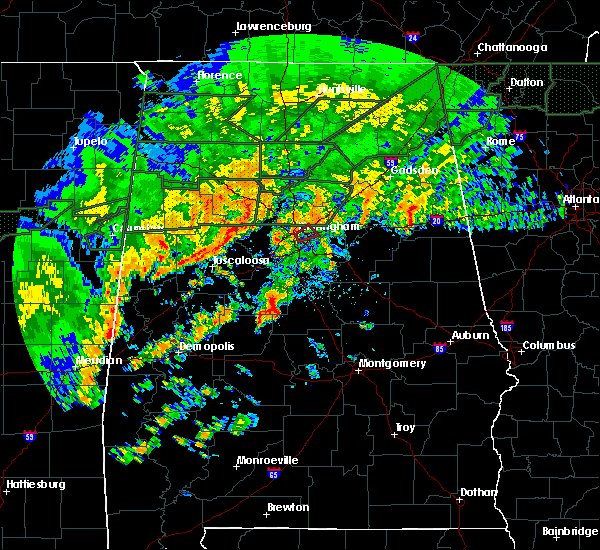 Radar Image for Severe Thunderstorms near Birmingham, AL at 12/25/2015 5:27 PM CST