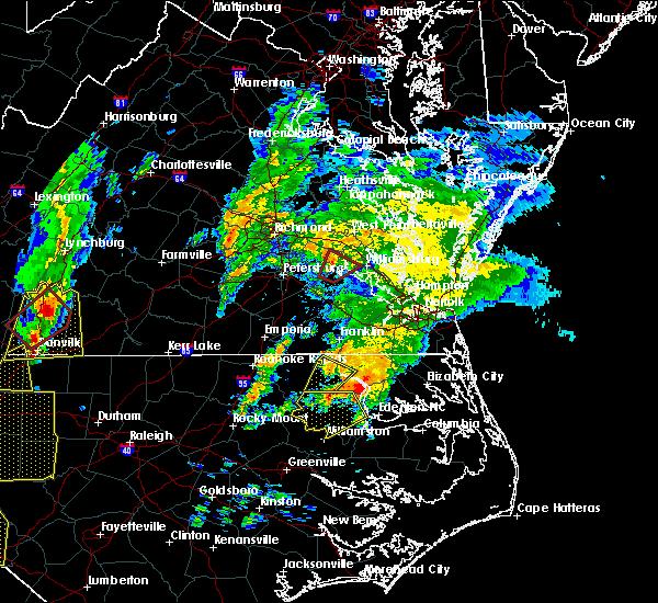 Radar Image for Severe Thunderstorms near Claremont, VA at 2/24/2016 2:56 PM EST