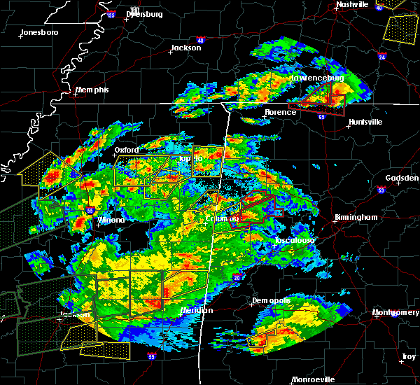 Radar Image for Severe Thunderstorms near Pontotoc, MS at 3/31/2016 7:11 PM CDT