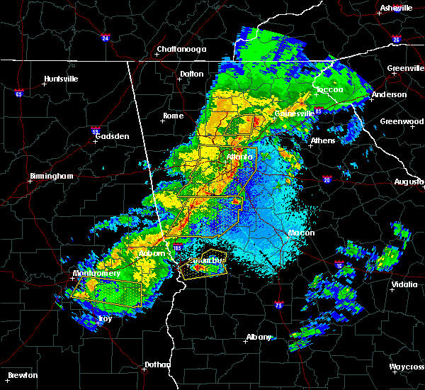 Radar Image for Severe Thunderstorms near Candler-McAfee, GA at 4/7/2016 12:15 AM EDT
