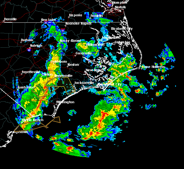 Radar Image for Severe Thunderstorms near Jacksonville, NC at 4/7/2016 7:40 AM EDT