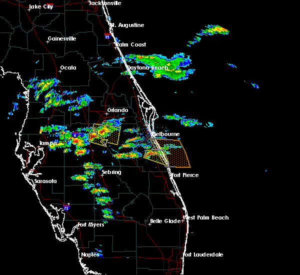Radar Image for Severe Thunderstorms near Palm Bay, FL at 4/14/2016 7:10 PM EDT