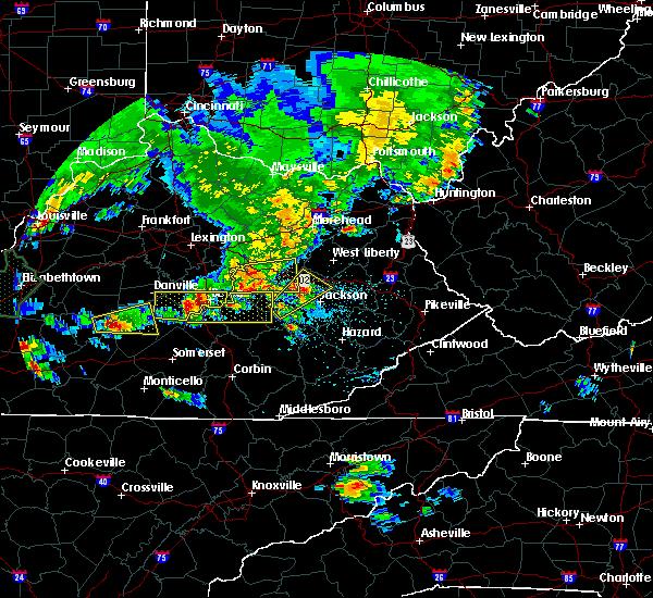Radar Image for Severe Thunderstorms near Campton, KY at 5/10/2016 7:23 PM EDT