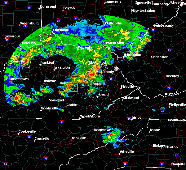 Radar Image for Severe Thunderstorms near Campton, KY at 5/10/2016 7:59 PM EDT