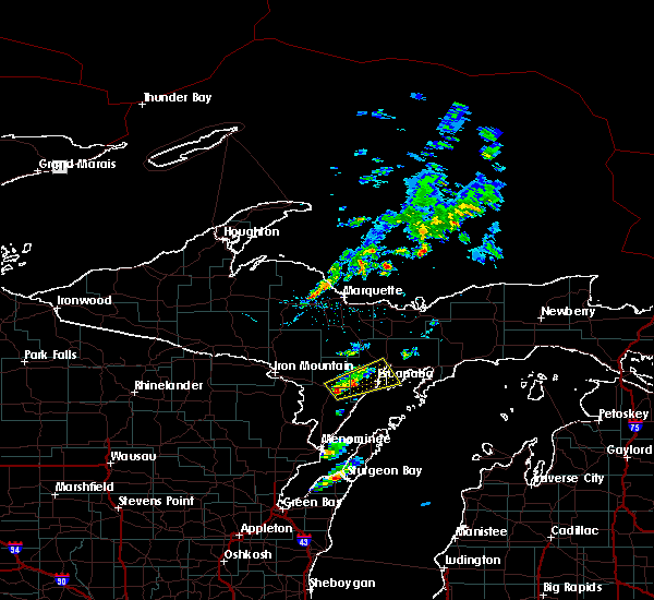 Radar Image for Severe Thunderstorms near Escanaba, MI at 6/1/2016 8:11 PM EDT