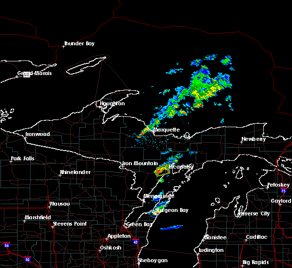 Radar Image for Severe Thunderstorms near Escanaba, MI at 6/1/2016 8:33 PM EDT
