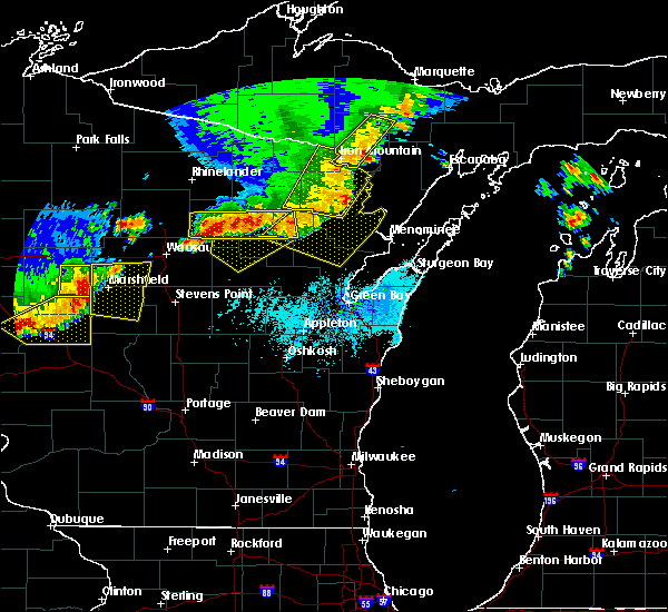 Radar Image for Severe Thunderstorms near Aniwa, WI at 6/10/2016 5:54 PM CDT