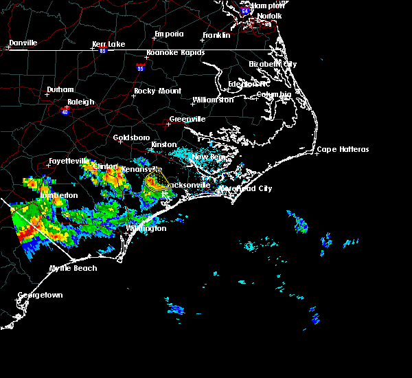 Radar Image for Severe Thunderstorms near Jacksonville, NC at 6/14/2016 7:54 PM EDT