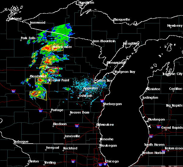 Radar Image for Severe Thunderstorms near Aniwa, WI at 6/15/2016 4:41 PM CDT