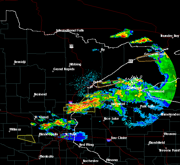 Radar Image for Severe Thunderstorms near Minong, WI at 6/19/2016 10:48 PM CDT