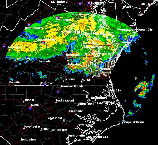 Radar Image for Severe Thunderstorms near Yorktown, VA at 6/23/2016 8:10 AM EDT