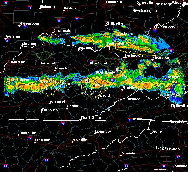 Radar Image for Severe Thunderstorms near Jackson, KY at 6/23/2016 7:03 PM EDT