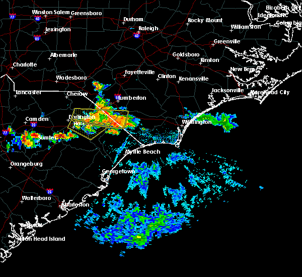 Radar Image for Severe Thunderstorms near Fair Bluff, NC at 6/24/2016 4:38 PM EDT