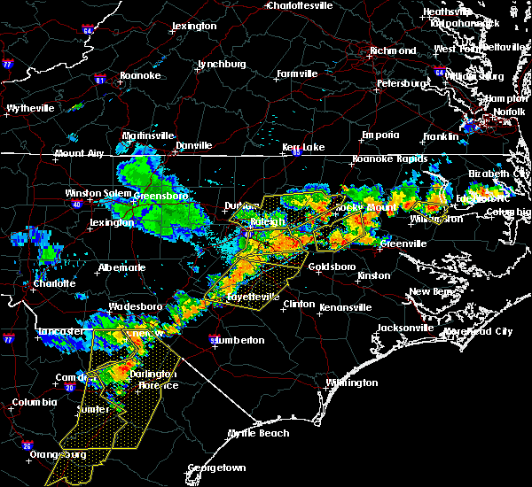 Radar Image for Severe Thunderstorms near Wilson, NC at 7/5/2016 6:59 PM EDT