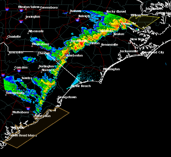Radar Image for Severe Thunderstorms near Pembroke, NC at 7/5/2016 7:58 PM EDT