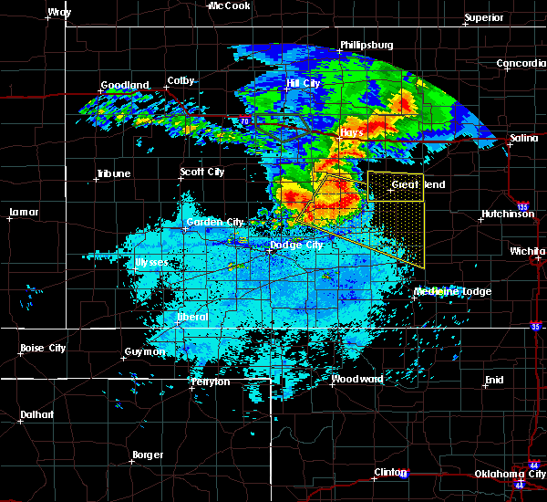 Radar Image for Severe Thunderstorms near Hoisington, KS at 7/6/2016 12:13 AM CDT