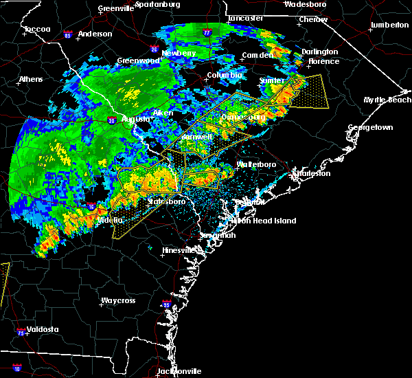 Radar Image for Severe Thunderstorms near Barnwell, SC at 7/6/2016 5:13 PM EDT