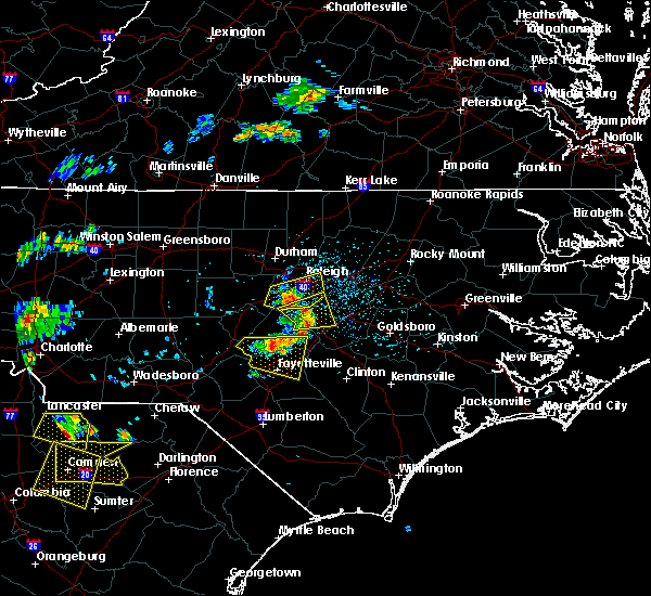 Radar Image for Severe Thunderstorms near Clayton, NC at 7/7/2016 4:32 PM EDT
