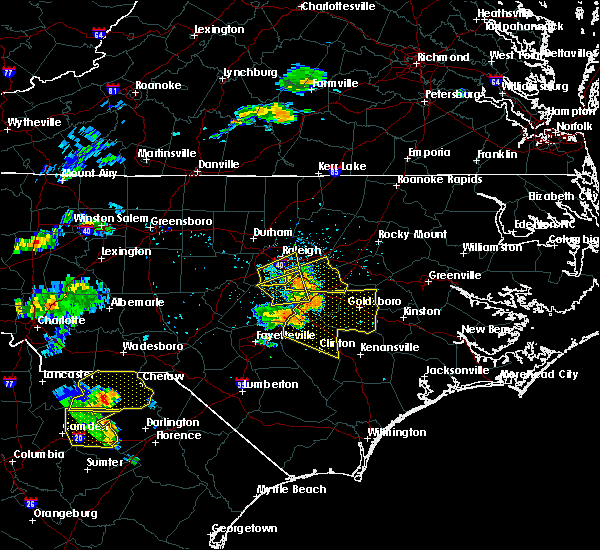 Radar Image for Severe Thunderstorms near Smithfield, NC at 7/7/2016 4:57 PM EDT