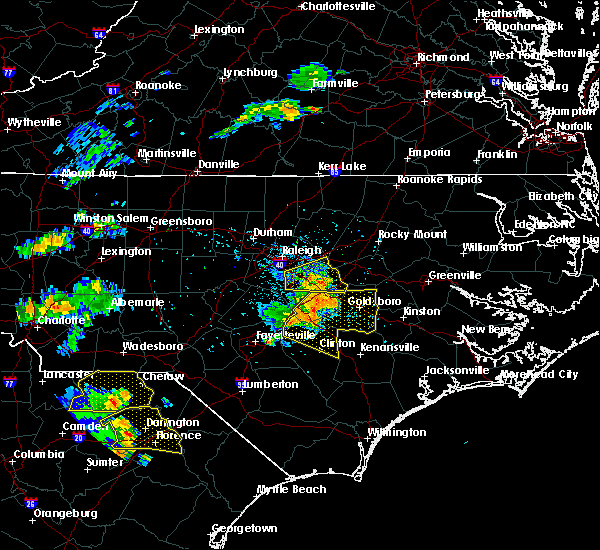 Radar Image for Severe Thunderstorms near Kenly, NC at 7/7/2016 5:07 PM EDT
