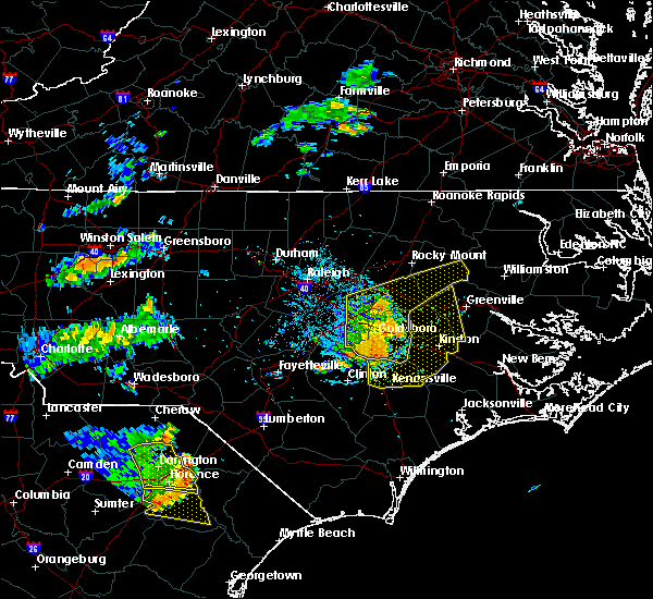 Radar Image for Severe Thunderstorms near Mount Olive, NC at 7/7/2016 5:38 PM EDT