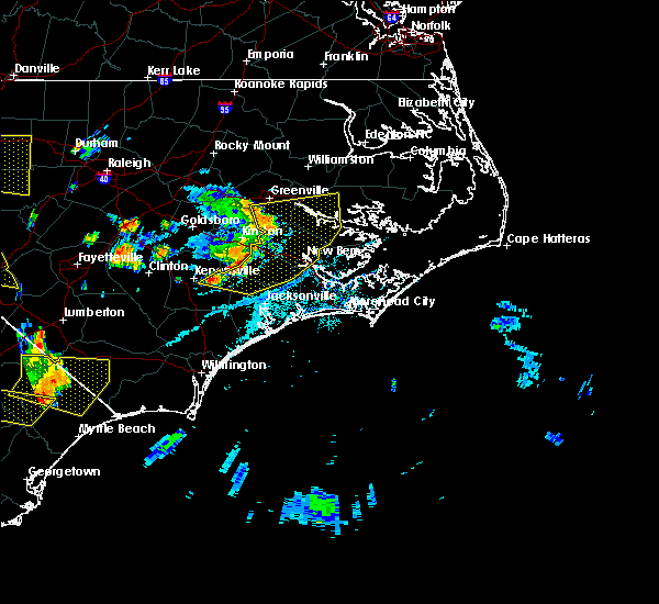 Radar Image for Severe Thunderstorms near Dover, NC at 7/7/2016 6:22 PM EDT