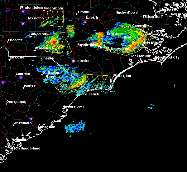 Radar Image for Severe Thunderstorms near Leland, NC at 7/7/2016 6:45 PM EDT