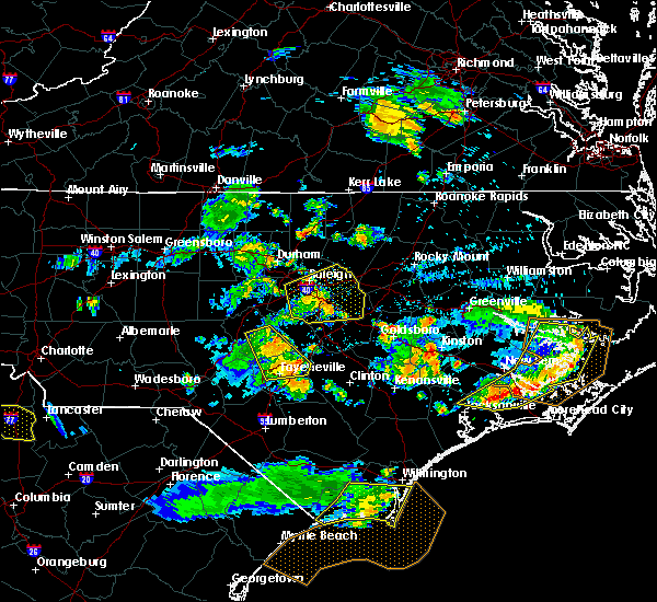 Radar Image for Severe Thunderstorms near Clinton, NC at 7/7/2016 7:35 PM EDT